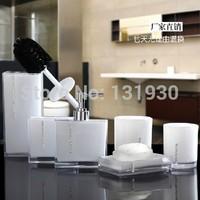 Free shipping bathroom set acrylic bathroom 6 pcs/set  bathroom accessories with soap dispenser etc 4 colors YKLA-6