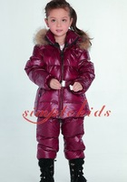 Retail warm winter boys and girls two-color Nagymaros collar down jacket suit (shirt + overalls) free shipping in stock