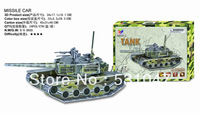 Free Shipping Children's educational toys Military Series  3D Puzzle of Tank  with 47pcs assembly