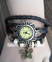 B002-New items 2014 Fashion Leather Strap Women Watch butterfly pendant Bracelet Watch free shipping