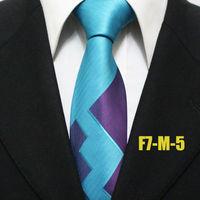 2014 New Arrival Unique Fashion Men Popular Neckties For Man Blue With Purple Business Novelty Ties For Shirt Gravatas F7-M-5