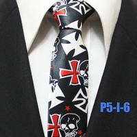 Mens Halloween Fire Skull Festival Party Black With White Ties For Men Christmas Neckties Gravatas 5CM P5-I-6