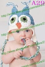 free shipping,2000piece/lot Cute Knit hat Owl Crochet Knit Earflap Hat Cap Newborn Crochet hat(China (Mainland))
