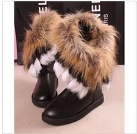 free shipping 2013 winter new women snow boots female waterproof  fox fur high tassel cotton shoes