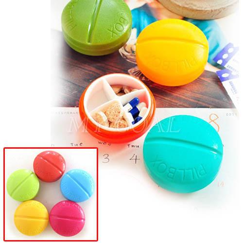 Free Shipping Portable Organizer Pill Round Box 4 Slot Health Pill Box Case Medicine Drug(China (Mainland))