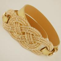 Best Sell Free shipping 2014 new european punk noble leather gold beaded buckle cummerbund women fashion waist belt strap female