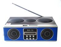 Ultra-low Stereo Sound box MP3 player Mobile Phone Speaker SD Card/USB/FM Radio SU-12