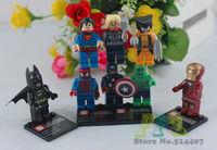 8PCS/lot Super Heroes Avengers Toy Iron Man Hulk Batman Wolverine Thor Building Blocks Sets Minifigure DIY Bricks Toys
