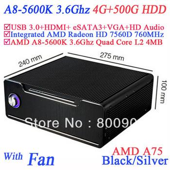small pc windows 7 4G RAM 500G HDD AMD A8-5600K 3.6Ghz Socket FM2 Quad Core 32nm 100W TDP L2 4MB AMD Radeon HD 7560D 760Mhz