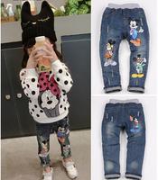 NZ-065 Wholesale and Retail 2014 New arrive children jeans cartoon design girl jeans autumn brand kids denim pants Free shipping