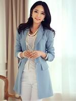 2014 autumn Tops Fashion Women's OL dress Medium-long Blazer Colored,casual slim Fashion long sleeve Suit jacket 8010