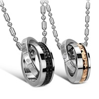 """High Quality Fashion Stainless Steel Jewelry Personality Pendants & Necklaces Double Circles 21"""" Long Chains Gold Black Newly"""