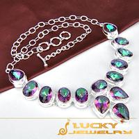 New  Fashion crystal Jewelry 925 Silver  mystic topaz necklace Classic Wedding Party Jewelry Necklace  N0097