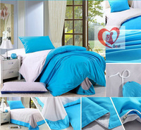 Best selling!!!,3Pcs of pure cotton Bedding set, solid color duvet cover and flat sheets, 195*230,  Free Shipping