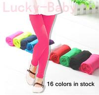 5pcs/lot 16 colors girls legging children's neon trousers elastic ankle length velvet pants leggings for 4-12years kids