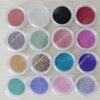Free Shipping 16 Mixed Colours/lot Caviar Nail Beads, 0.6-0.8mm Nail Art Micro Glass Beads,Tiny Circle Beads