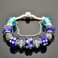 Express Hot Sale,European 925 Silver Bracelet,Lampwork Glass Beads Charm Bracelets& Bangles For Women And Man,Wholesale,PA005