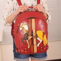 Free Shipping 2012 women's fashion handbag lapalette double-shoulder back big bag printing backpack