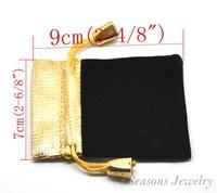 "10PCs Black Velvet Drawstring Pouches Jewelry Bags Gift Bags 7cmx9cm(2 6/8""x3 4/8"") (B20222)8seasons"