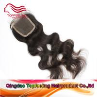 Forestern body wave top closure piece lace base  brazilian virgin hair wavy 4*4 inch