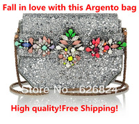 Shourouk Silver Crystal Embellished Glitter PVC Clutch/Shourouk ARGENTO CLUTCH/Argento Bag,New Fall,High quality,Free Shipping!