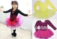 Fast shipping wholesale(4pcs/1lot) 4-8 years Korea yellow Long sleeve Children's ballet skirt,girls braces skirt dancing dress