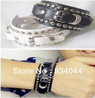 Free Shipping Fashion Jewelry Mix Order Hippop Stainless Steel Button Rivet Leather Cuff Bracelets Cool Men's Jewelry