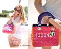 2013 Bur fashion style Three colors Plaid sheepskin leather Quilted gold shoulder Laptop Messenger Bag Lady D Diana hadbag