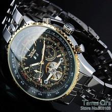 2015 JARAGAR Luxury Watch Men Day/Month Flywheel Mechanical Watches Stell Men's Watch Wristwatch Gifr Box Free ship(China (Mainland))