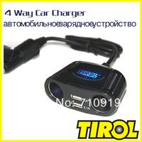 TIROL T16248 4-Way Cigarette Socket Splitter Dual USB 2.1A +150W Twin Sockets Car Charger For iPad& Digital Device Free Shipping