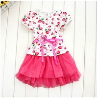 Wholesale children girls summer tutu dress printed strawberry tulle dress child summer clothes 5pcs/lot