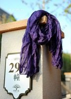 Free Shipping Wholesale Charm Fashion Scarves Purple Solid Color Shawl for Women Ethnic Voile Scarf Folds-4771