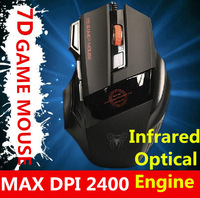 Free shipping 7D game  mouse gaming wired optical cool mouse for lol DPI 2400 game engine sensitive MX9700