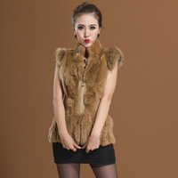 2013 Fashion Women Rex Rabbit Fur And Raccoon Dog Fur Vest  Retail Free shipping ZX0205