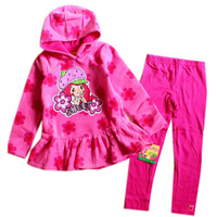 Free Shipping 2013 Novelty Brand New Autumn Girls Strawberry Shortcake Clothes Suits Long sleeved Clothing Suits for girls