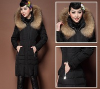 Free Shipping New 2013 Winter Women'S Jacket Large Fur Collar Slim Medium-Long Plus Size S-XL Down Coat Female LW82005