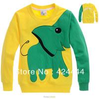Yellow cartoon elephant  terry long sleeve sapphire single cartoon elephant print/embroidery pure cotton long sleeve T-shirt