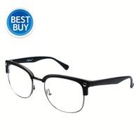 Free shipping  UV400 handmade half frame glasses metal big black eyeglasses frame vintage spectacle eyeglasses