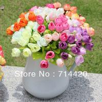3pcs/lot Artificial Flower  Bouquet silk Tea Rose Simulation flowers For Patty wedding Home Decorative flowers