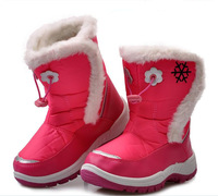 Free shipping 2013 winter children's snow boots fashion girl's ankle boots thick plush lining warm boots cotton padded shoes