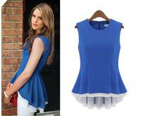 Free shipping 2013 Summer Women's new fashion Slim Sleeveless Dovetail  Chiffon Plus size  Zipper  Blouse T- shirt For Lady