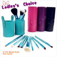 4 Colors Pro 12 PCS Makeup Brush Set Cosmetic Brushes Cylinder Cup Holder & Comfortable to use & High Fashion & Ladies' Favor
