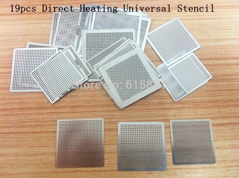 19pcs Directly Heat Rework BGA Reball Reballing Universal Stencil Template Set(China (Mainland))