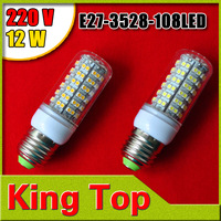 220V E27-3528-108LED Free Shipping+LED Bulbs 108LEDs Lamps 3528 SMD E27 12W Warm White/White Home Lighting 2PCS/lot