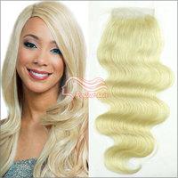 Mocha Brazilian Hair Bleach Blonde Color 613 Virgin Hair Lace Closure Body Wave Brazilian Human Hair