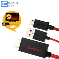 Micro USB MHL to HDMI Cable for Smartphone Color Red Free Shipping