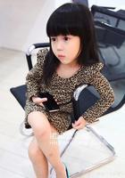2013 New Arrive Spring Leopard Temperament Kids Tutu Dress Longsleeve Tight Baby Girls Dress Free Shipping