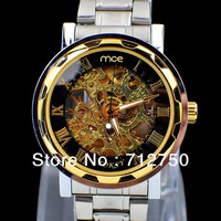 2013 Promotion Luxury Skeleton Stainless Steel Strap Automatic Mechanical Relogio Watch Quartz Luxury For Men Free Shipping