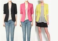 FREE SHIPPING blazer ZA Womens Tunic Foldable  Blazer Jacket Candy Color Suit COAT Cardigan Coat Free Shipping  HOT SALE KEY001