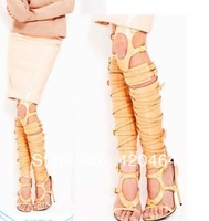 2013 Newest Arrival Free Shipping Summer Knee High Gladiator Sandals Boots for Women